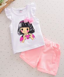 Wonderland Cute Girl Cap Sleeves T-Shirt & Shorts - Light Pink