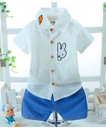 Wonderland Peeping Bunny Shirt & Shorts Set - White