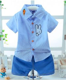 Wonderland Peeping Bunny Shirt & Shorts Set - Blue