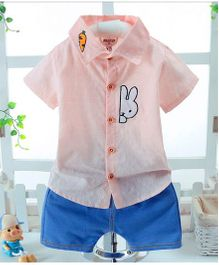 Wonderland Peeping Bunny Shirt And Shorts Set - Pink
