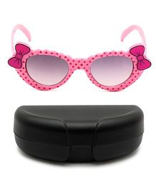 Miss Diva Double Bow Polka Sunglasses With Case - Peach