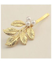 Flaunt Chic Pearl & Leaves Hair Clip - Gold