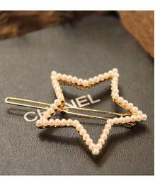 Flaunt Chic Star Pearl Hair Clip - Gold