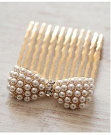 Flaunt Chic Bow Bun Comb - Gold