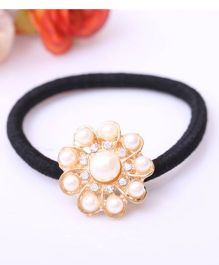 Flaunt Chic Ten Rounded Pearl Hair Tie - Black