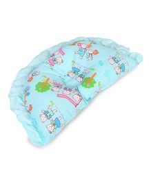 Baby Cotton Pillow With Bear Design - Teal Blue