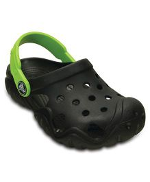 Crocs Swiftwater Clog - Black & Volt Green  (5 to 5.5 Years)