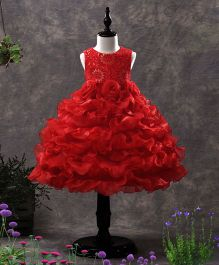 SAPS Sleeveless Party Wear Dress Floral Applique - Red