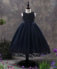 SAPS Sleeveless Party Wear Frock Bow Applique - Navy Blue