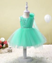 SAPS Sleeveless Party Wear Dress Embroidered Net Frill - Sea Green