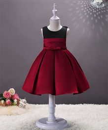 SAPS Sleeveless Party Wear Pleated Dress - Dark Red