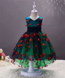 SAPS Sleeveless Party Wear Dress Embroidered Dress Floral Applique - Green