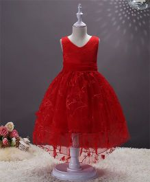 SAPS Sleeveless Party Wear Dress Embroidered Dress Floral Applique - Red