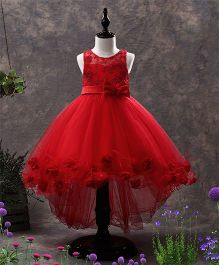SAPS Sleeveless Party Wear Embroidered Dress Floral Applique - Red
