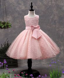 SAPS Sleeveless Party Wear Dress Floral Embroidered Frill - Pink