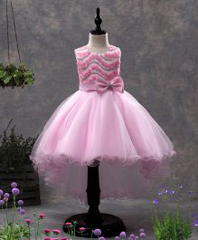 SAPS Sleeveless Party Wear Asymmetrical Frock Bow Applique - Pink