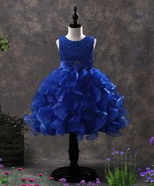 SAPS Sleeveless Party Wear Ruffle Frock Bead Detailing - Royal Blue