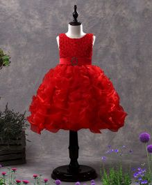 SAPS Sleeveless Party Wear Ruffle Frock Bead Detailing -  Red