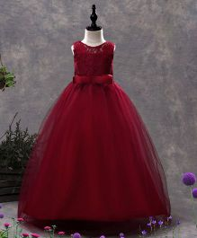 SAPS Sleeveless Party Wear Net Dress Bow Applique - Maroon