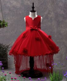 SAPS Sleeveless Party Wear Asymmetrical Frock Bow Applique - Red