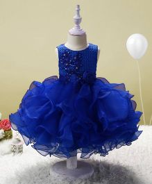 SAPS Sleeveless Party Wear Dress Flower Applique - Royal Blue