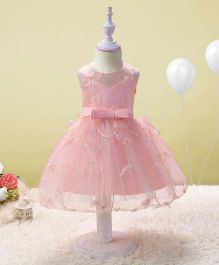 SAPS Sleeveless Party Wear Frock Bow Applique - Light Pink