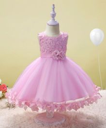 SAPS Sleeveless Party Wear Dress Floral Applique & Pearl Design - Pink
