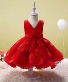 SAPS Sleeveless Party Wear Dress Bow Applique - Red