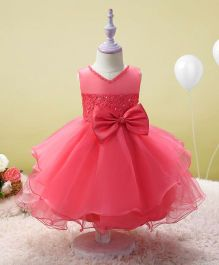 SAPS Sleeveless Party Wear Dress With Bow Applique - Dark Pink