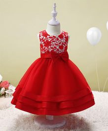 SAPS Sleeveless Party Wear Dress With Sequin Design - Red