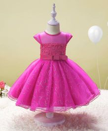 SAPS Cap Sleeves Party Wear Dress With Sequin Design - Fuchsia