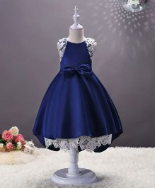 SAPS Sleeveless Party Wear Dress Bow Applique - Blue