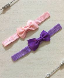 Angel Closet Small Bow Headbands - Pink & Purple