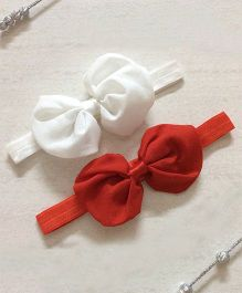 Angel Closet Bow Headbands - White & Red