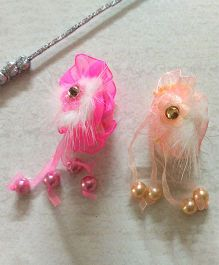 Angel Closet Beads & Feather Hair Clips - Pink & Peach