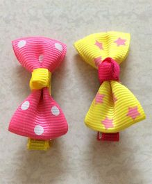 Angel Closet Pair Of Bow Clips - Pink & Yellow