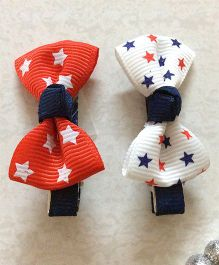 Angel Closet Pair Of Bow Clips - Red & White
