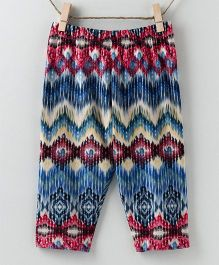 Pebbles Zigzag Printed Leggings - Blue & Multicolor