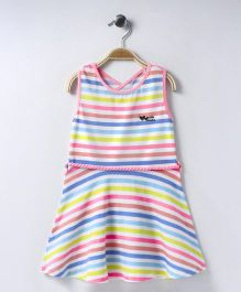 Vitamins Sleeveless Frock Stripes Pattern - Multi Color