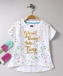 Vitamins Short Sleeves High Low Pattern Top - White