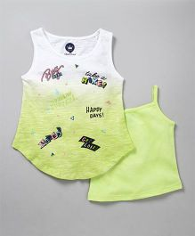 Vitamins Sleeveless Printed Top With Inner - White Lemon Green