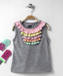 Vitamins Sleeveless Top With Ruffle Pattern - Grey