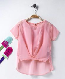 Vitamins Short Sleeves High Low Pattern Top With Inner - Light Pink