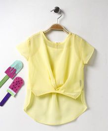 Vitamins Short Sleeves High Low Pattern Top With Inner - Yellow