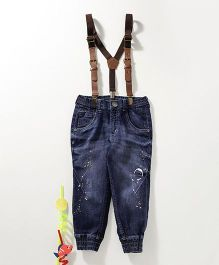 Gini & Jony Full Length Tattered Jogger Jeans With Suspenders - Blue