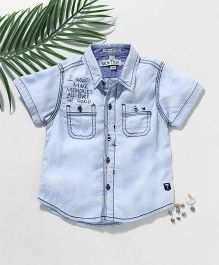 Palm Tree Half Sleeves Ice Wash Denim Shirt - Light Blue