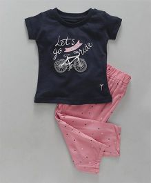 Palm Tree Half Sleeves Night Suit Cycle Print - Navy Blue Pink