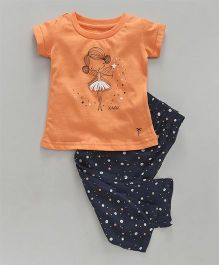 Palm Tree Half Sleeves Night Suit Fairy Print - Navy Blue Orange