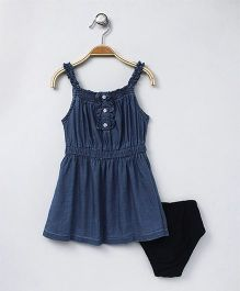 Gini & Jony Baby Singlet Frock With Bloomer Stone Wash - Blue