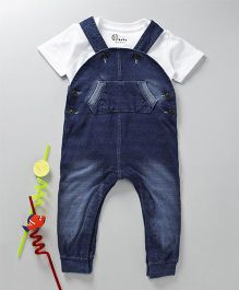 GJ Baby Half Sleeves T-Shirt With Denim Dungaree - Blue